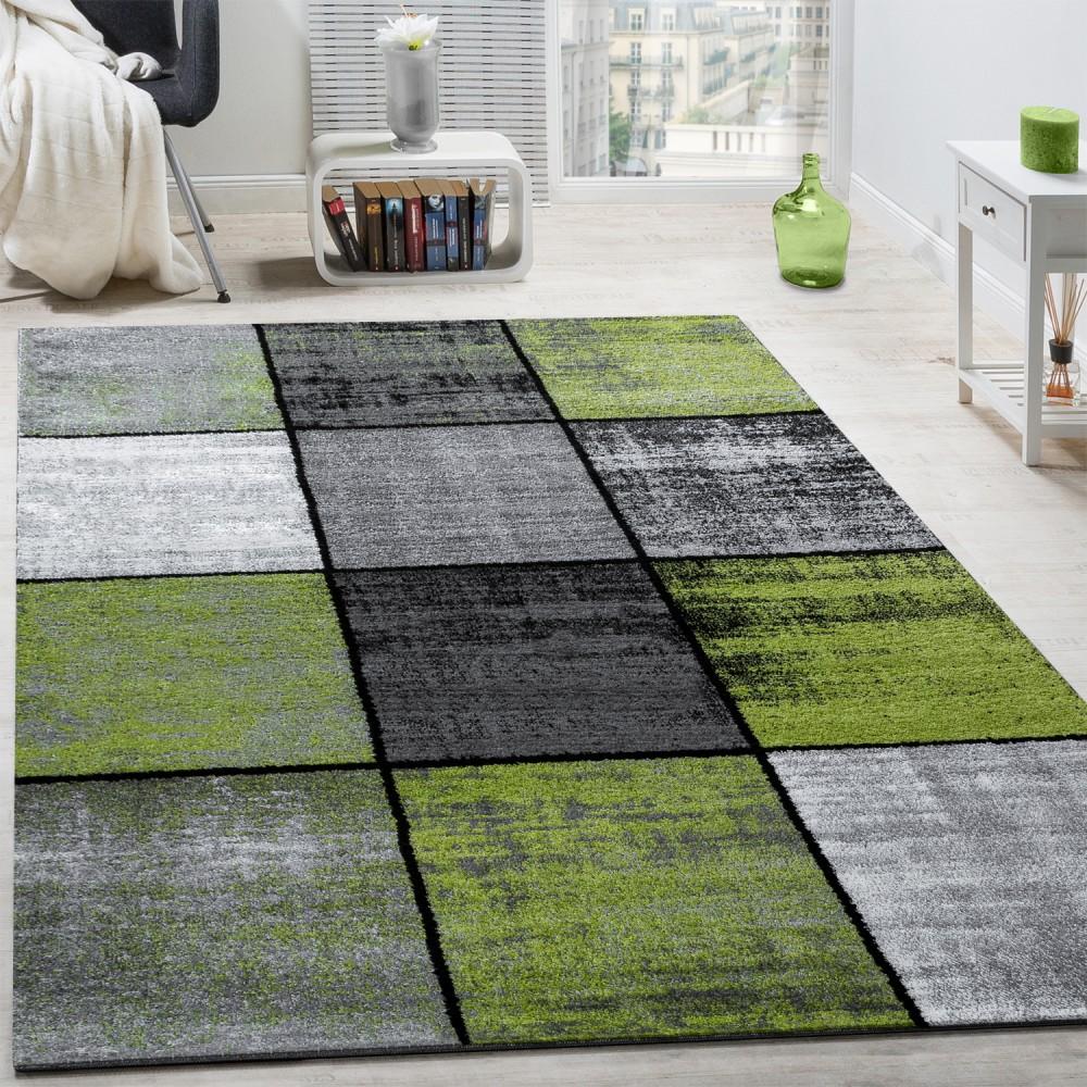 Designer Teppich Modern Kurzflor Karos Speziell Meliert Grau Schwarz Grün 1  ...