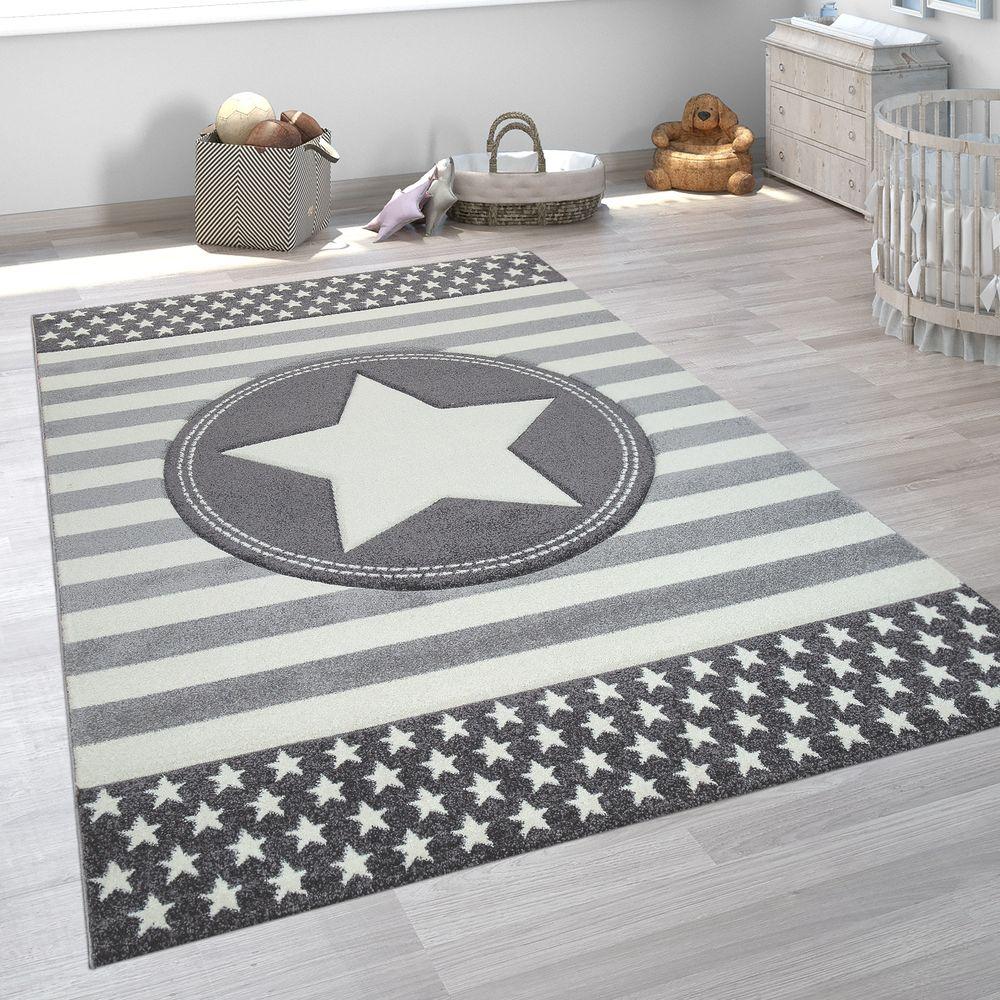 Kinderzimmer Teppich Grau Weich 3-D Streifen Design Stern Motiv Kurzflor  Robust