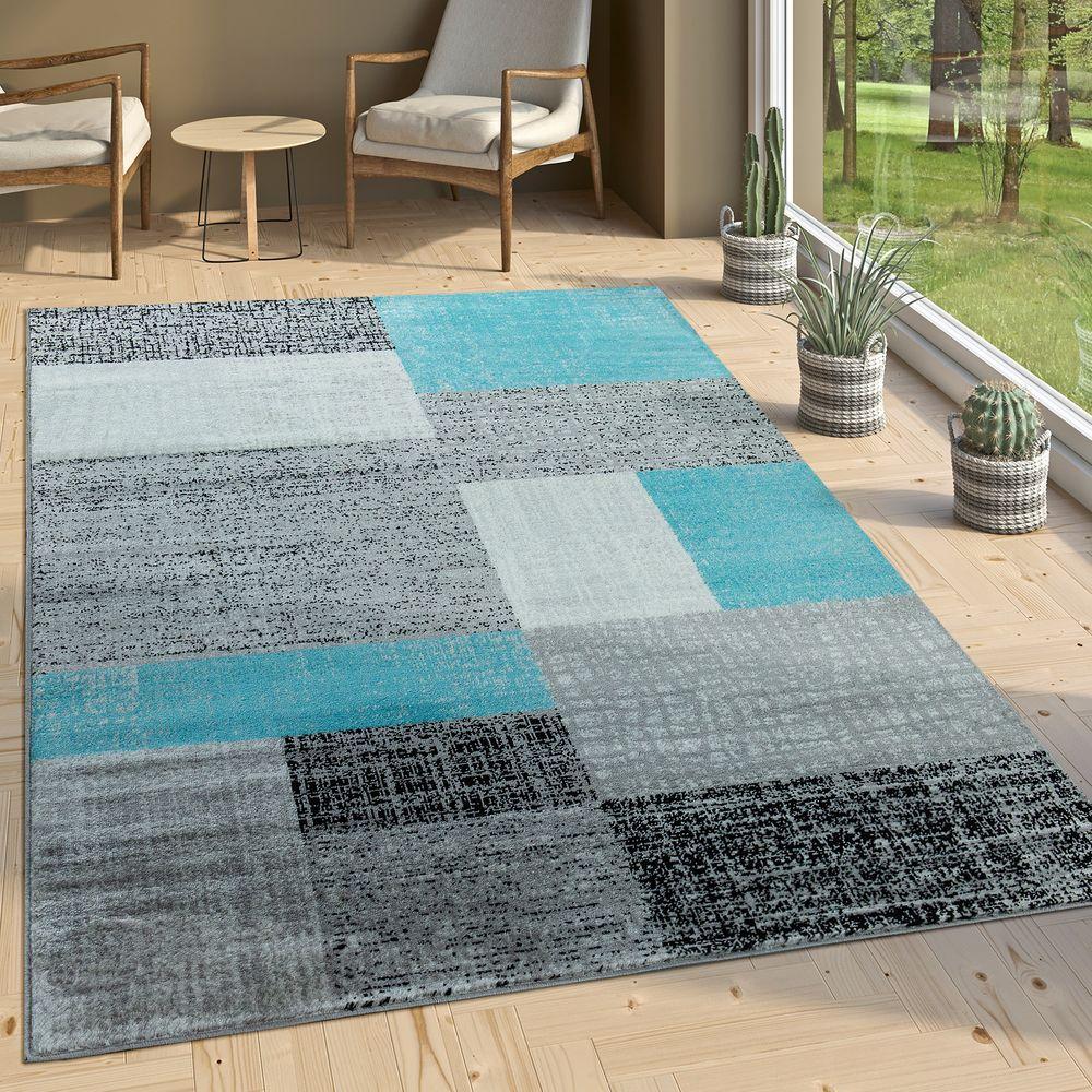 Designer Wohnzimmer Teppich Modern Kurzflor Karo Design Türkis Grau ...