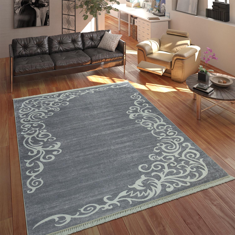 Moderner Teppich Mit Bedrucktem Ranken Muster Trend Design Grau Weiss