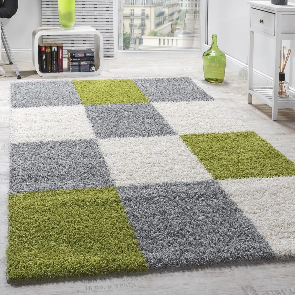 Moderner Hochflor Teppich Shaggy Karo Muster Zottel Teppiche Grün Grau Weiß  1 ...
