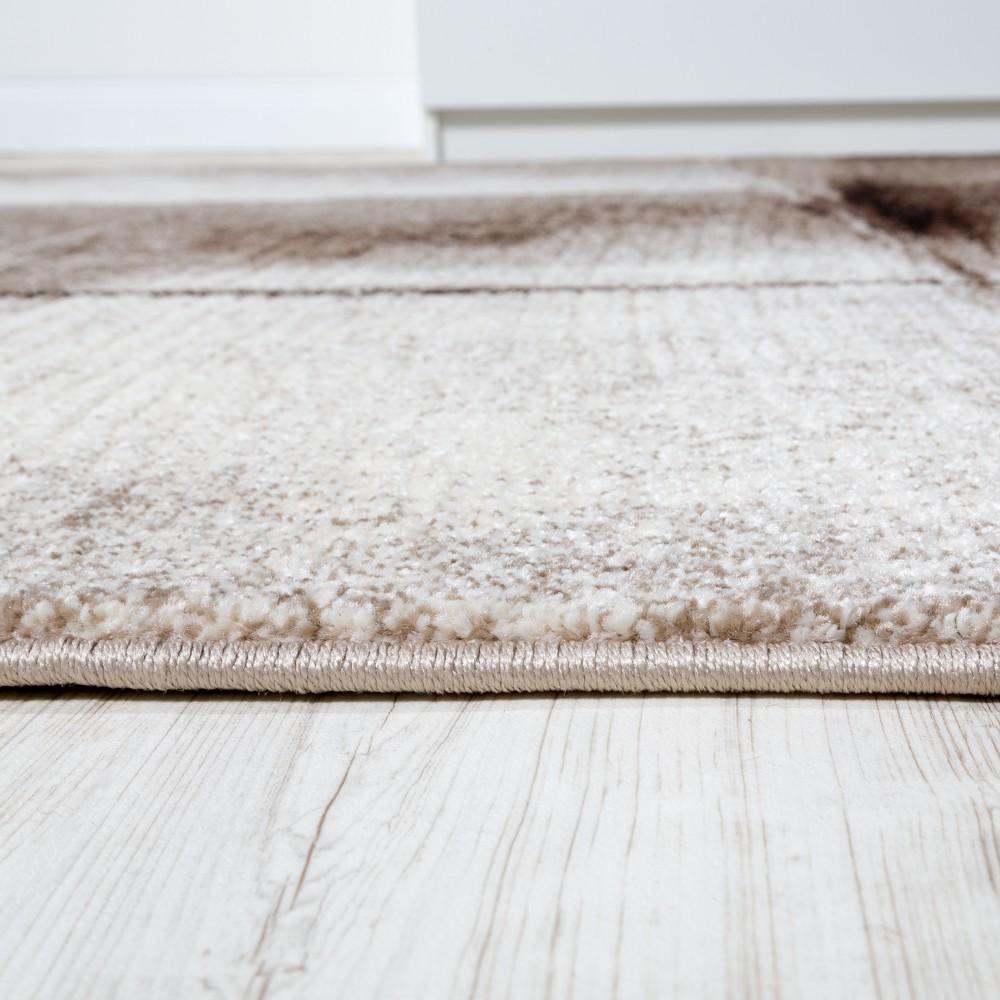 Designer Teppich Modern Kurzflor Wohnzimmer Trendig Meliert Braun ...
