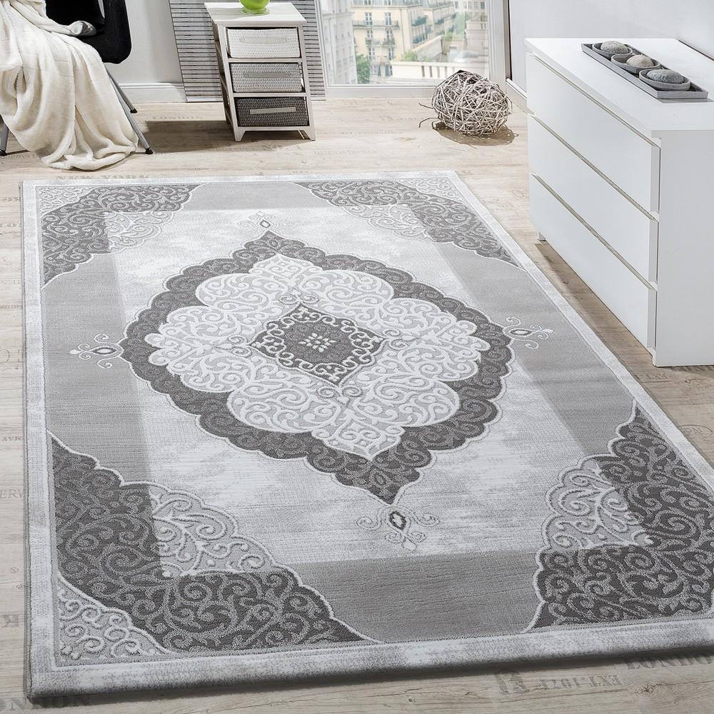 Teppich Wohnzimmer Klassisch Ornament Abstrakt Design Meliert Grau ...