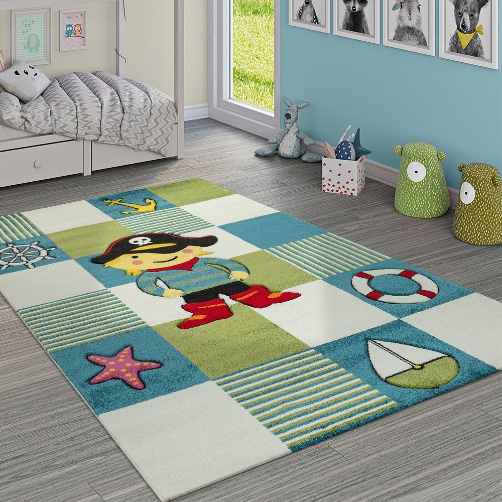 Moderner Kinderzimmer Teppich Im Piraten Look Mit Karo Muster In ...