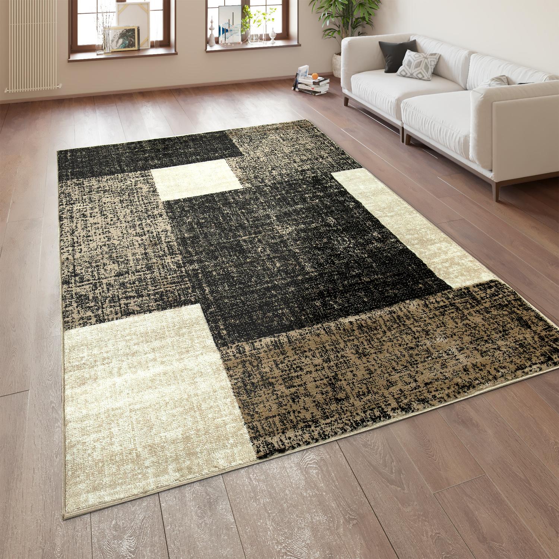 Designer Wohnzimmer Teppich Modern Kurzflor Karo Muster Braun Beige