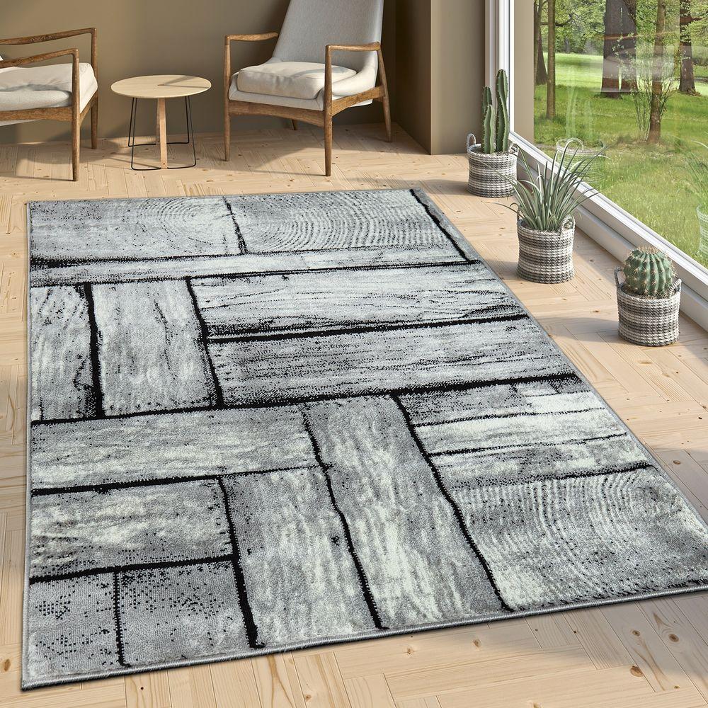 Gut Designer Wohnzimmer Teppich Modern Holz Optik Rustikal Grau Schwarz 1 ...