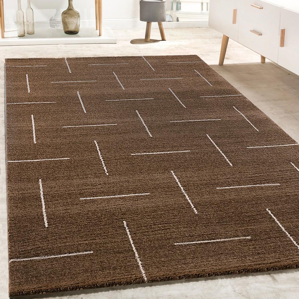 Designer Teppich Wohnzimmer Modernes Design In Braun Weiß Meliert 1 ...