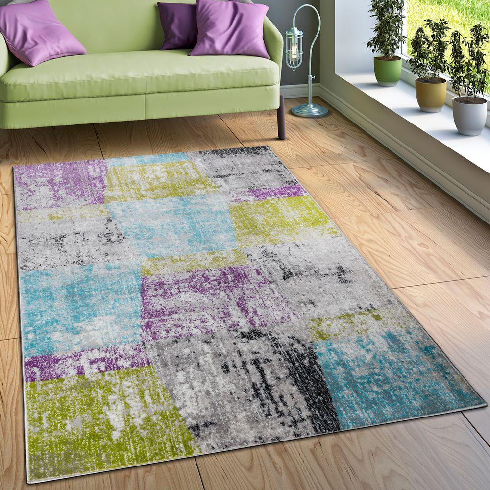Designer Teppich Wohnzimmer Ausgefallene Farbkombination Karo Mehrfarbig 1  ...