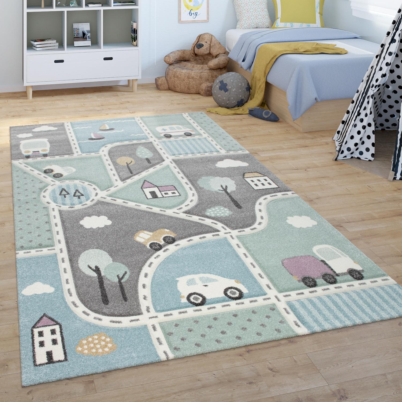 kinder teppich  spiel teppich fr kinderzimmer  mit straen motiv  grn blau