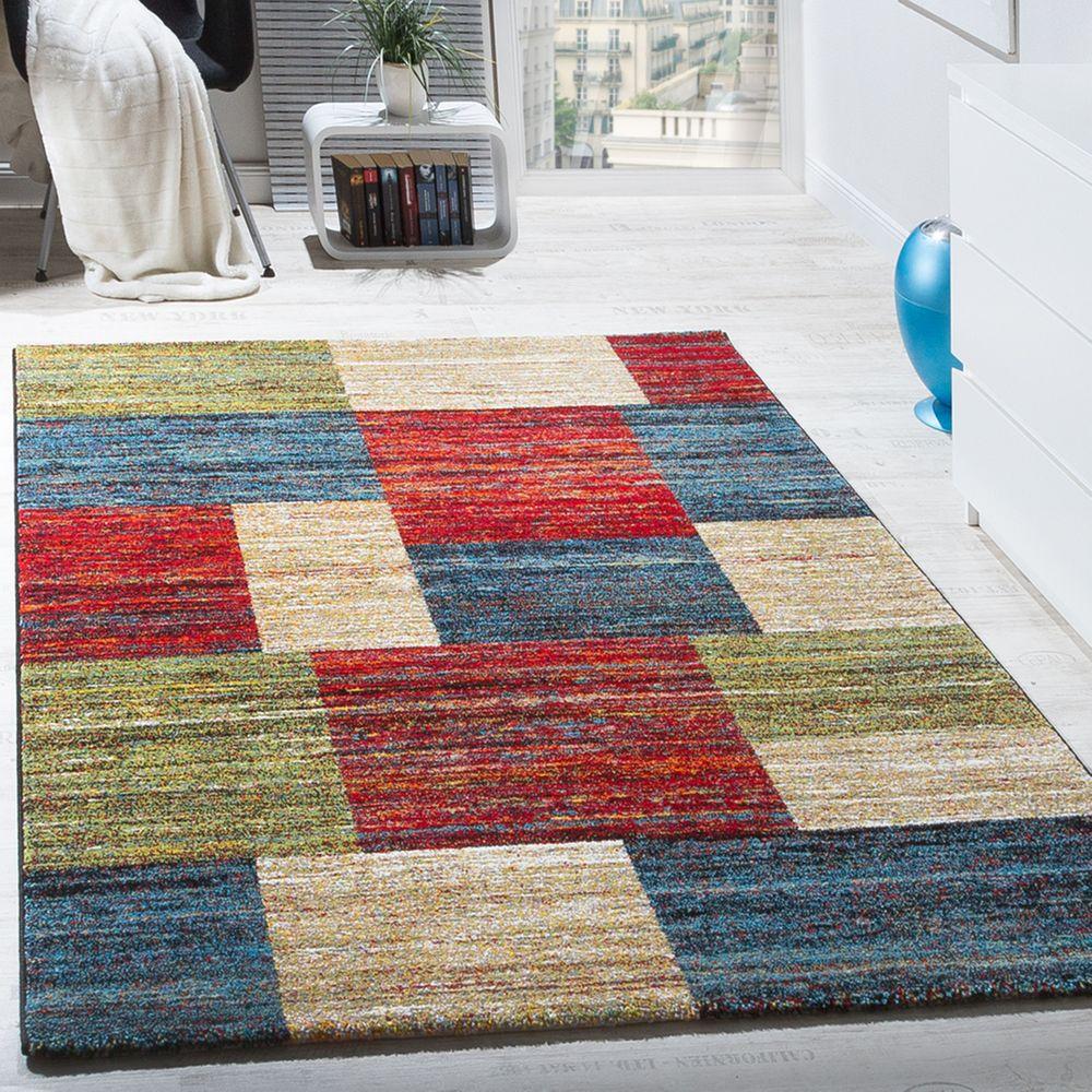 Teppiche Modern Wohnzimmer Teppich Spezial Melierung Karo Muster Rot ...