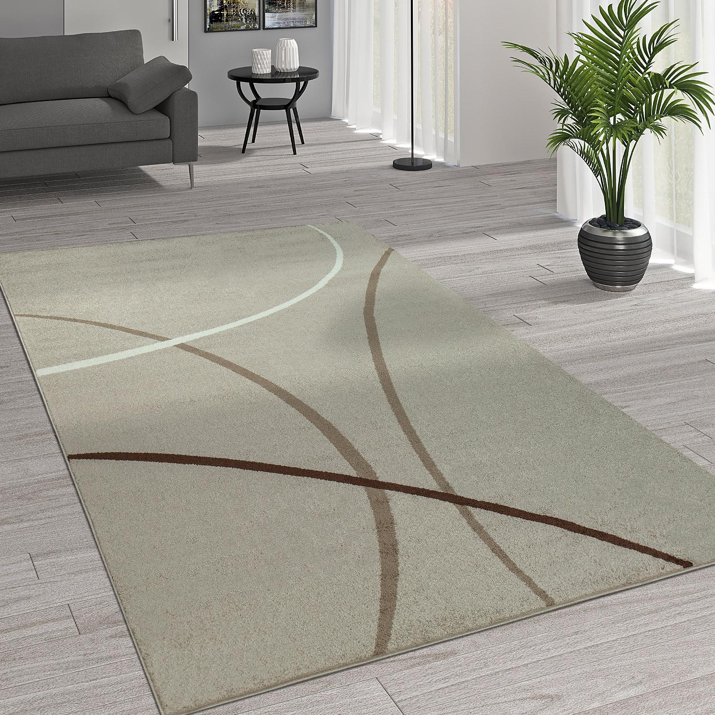 Kurzflor Wohnzimmer Teppich Trendige Moderne Linien Muster In Beige Creme  Braun 1 ...