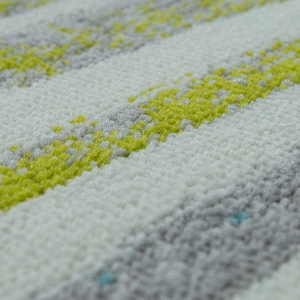 Designer Teppich Wohnzimmer Modernes Wellen Design In Creme Grün Blau