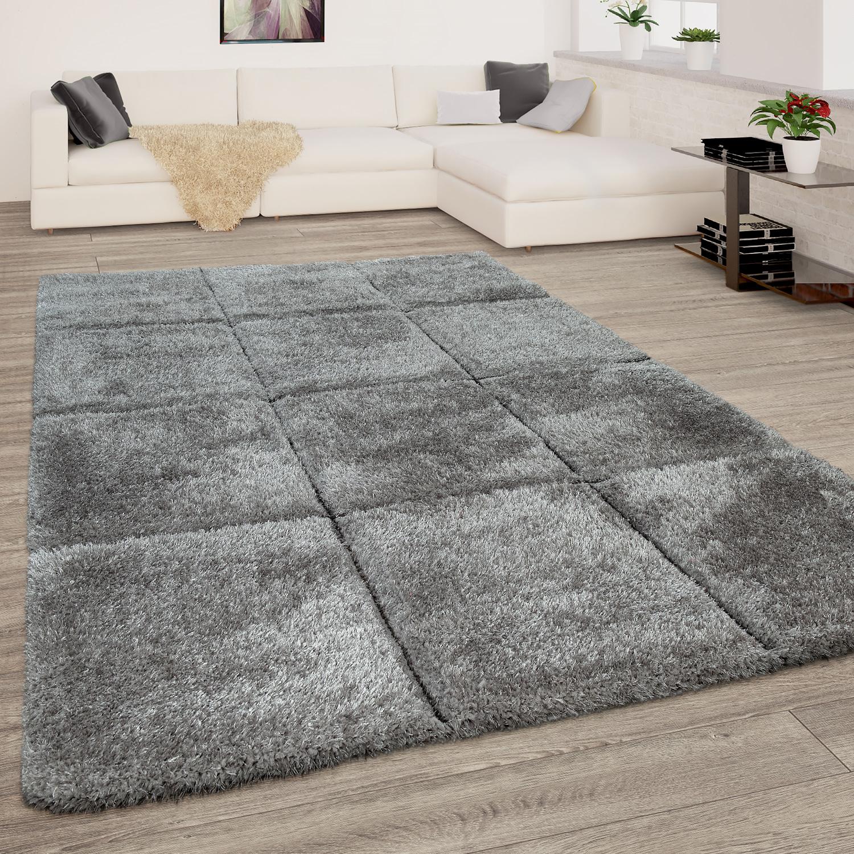 Wohnzimmer Teppich Grau Anthrazit Weich Hochflor Shaggy Flauschig 3 D Karo Muster