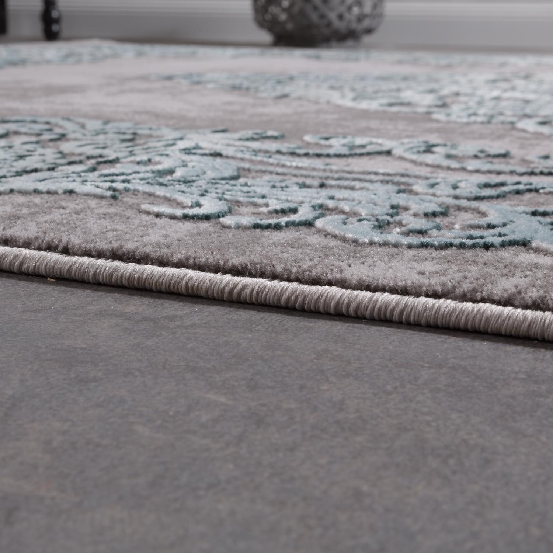 52fdef8a8f151c ... Designer Teppich Modern Wohnzimmer Teppiche 3D Barock Muster In Grau  Türkis Creme 2 ...
