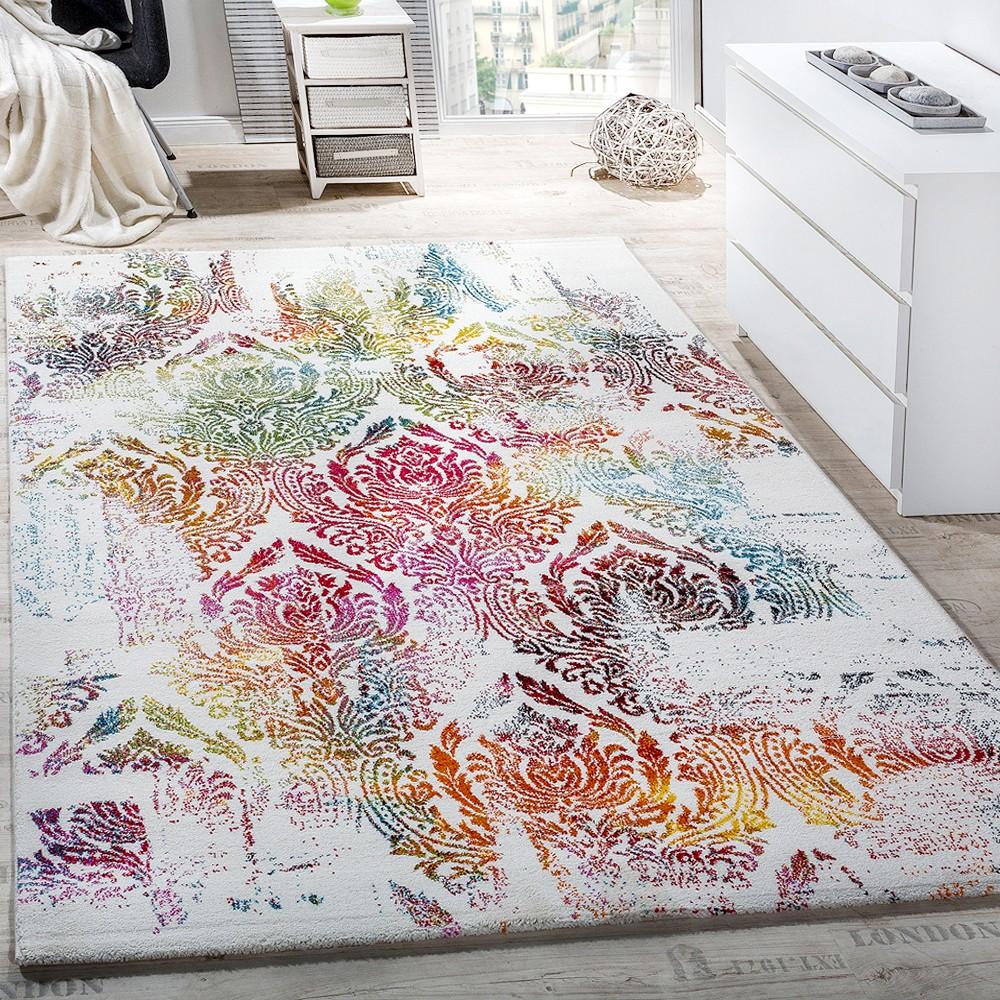 Teppich Modern Leinwand Optik Teppich Floral Ornament Muster Bunt Creme  Türkis 1 ...