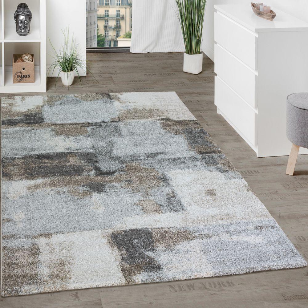 Hochwertig Designer Teppich Wohnzimmer Webteppich Kariert Webteppich In Grau Creme 1  ...
