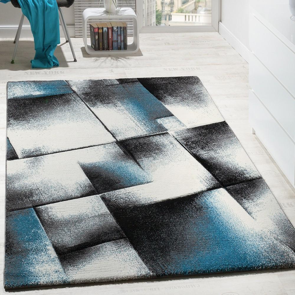 Designer Teppich Wohnzimmer Teppiche Kurzflor Meliert Turkis Grau