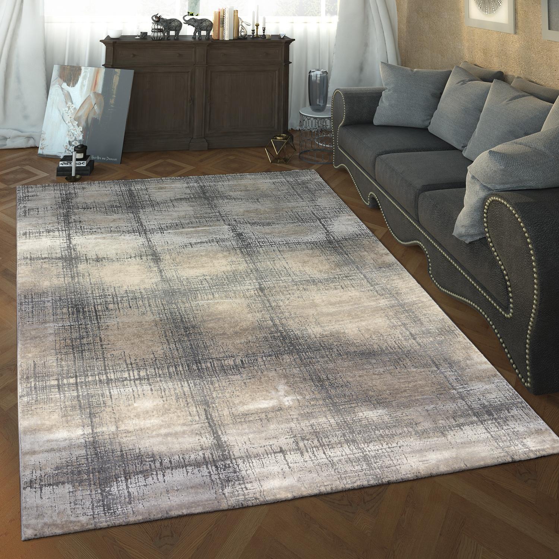 Designer Wohnzimmer Teppich Hoch Tief Struktur Karo Muster Modern In Grau  Weiß