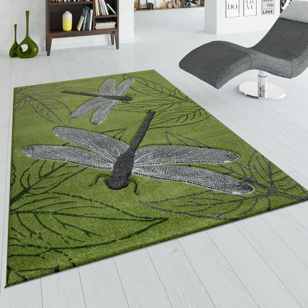 Teppich Wohnzimmer Kurzflor Grün Grau 3-D Effekt Libellen Design Blätter  Muster
