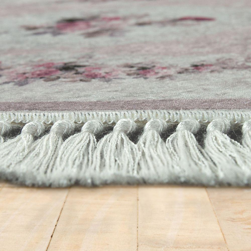Badezimmer Teppich Set Blumenmuster Waschbar Gemütlich Badvorleger Altrosa  Creme