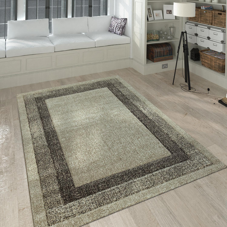 Kurzflor Teppich Wohnzimmer Modern Meliert Bordüre Farbverlauf In Creme  Beige 1 ...