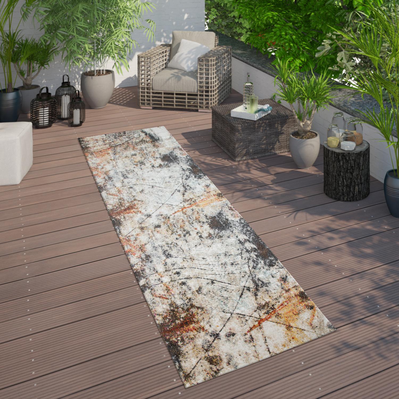 In  & Outdoor Teppich Für Balkon Und Terrasse, Mit Vintage Muster, In Bunt