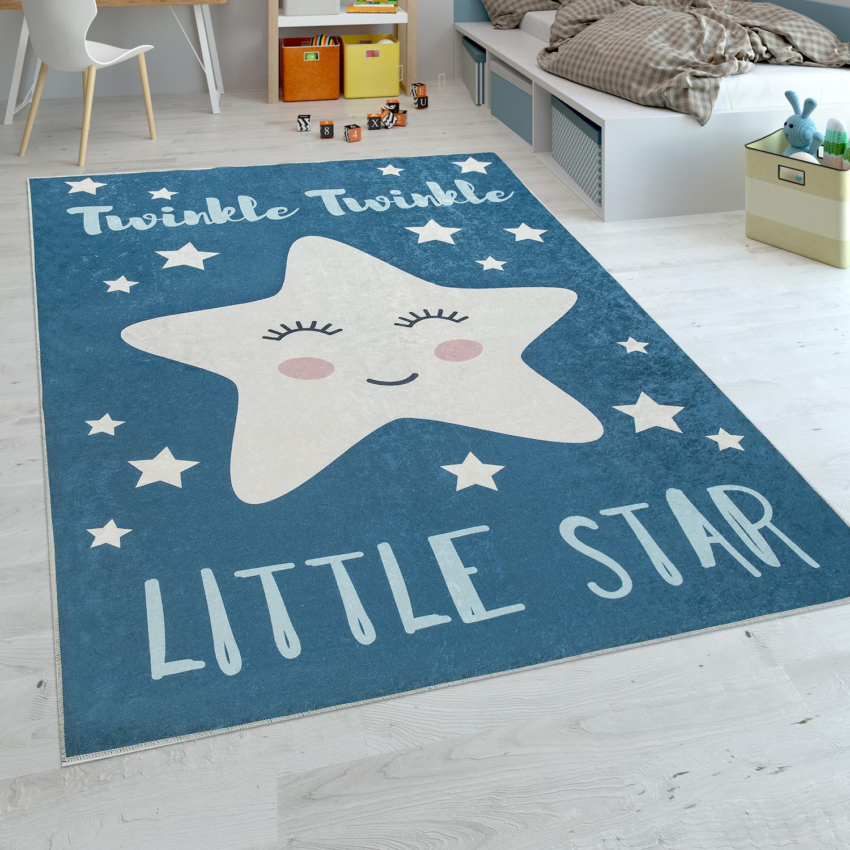 Kinderteppich Kinderzimmer Jungen Waschbar Niedlicher Stern Spruch Blau  Weiss
