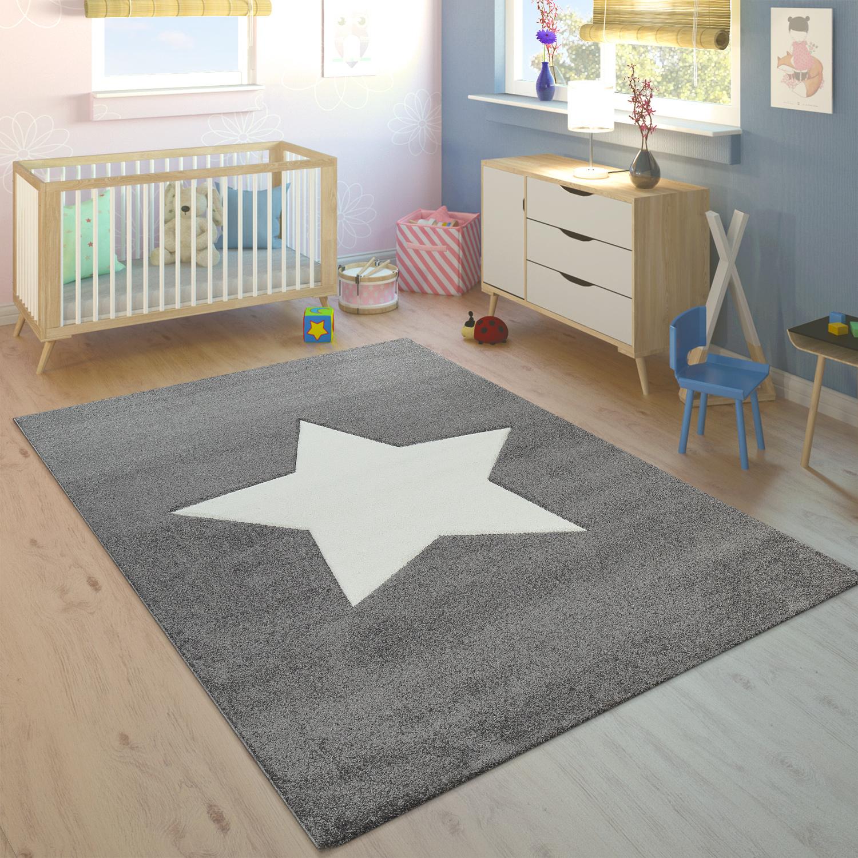 Kinderteppich Kinderzimmer Jungen Madchen Modern Grosser Stern In Grau Weiss