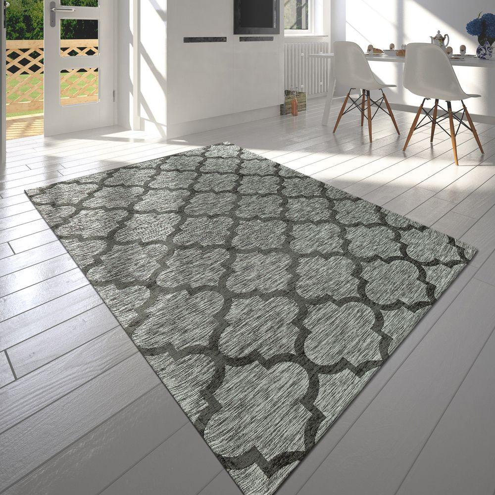 Moderner Kurzflor Wohnzimmer Teppich Marokkanisches Design Meliert ...