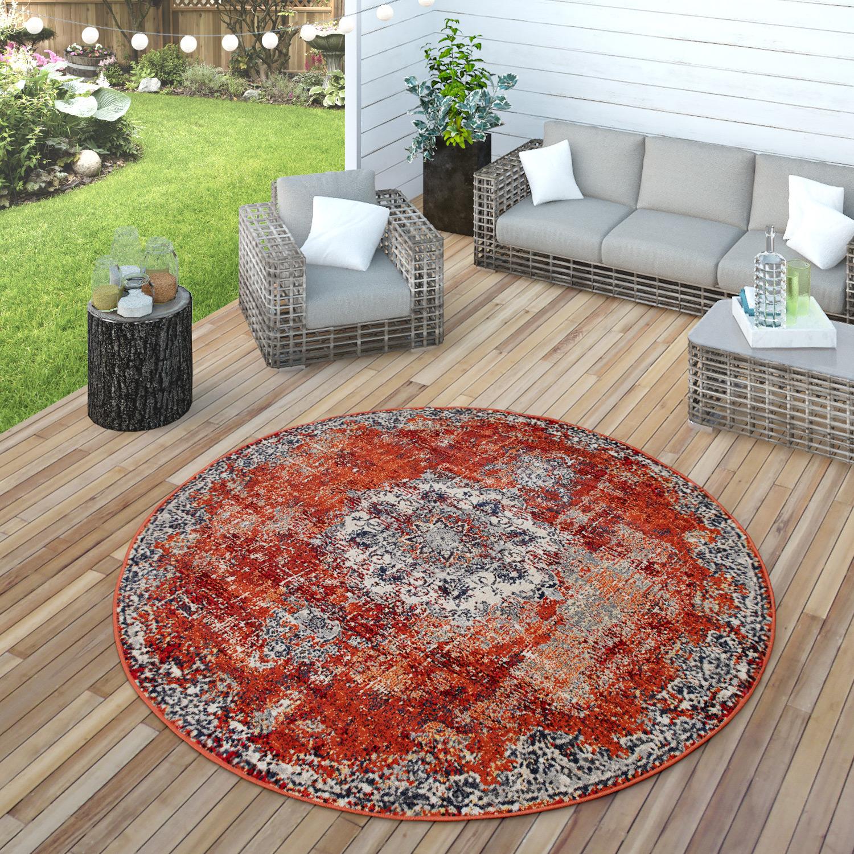 In & Outdoor Teppich Küchenteppich Balkon Terrasse Vintage Orient Muster  Grau Rot