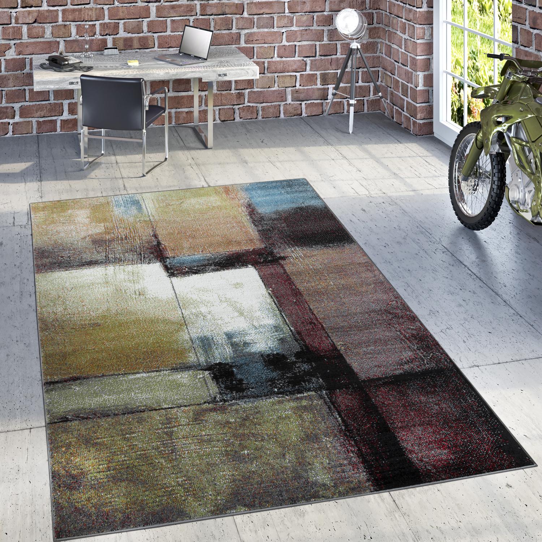 Designer Teppich Modern Wohnzimmer Ölgemälde Abstrakt Rost Optik In Schwarz  Gelb 1 ...