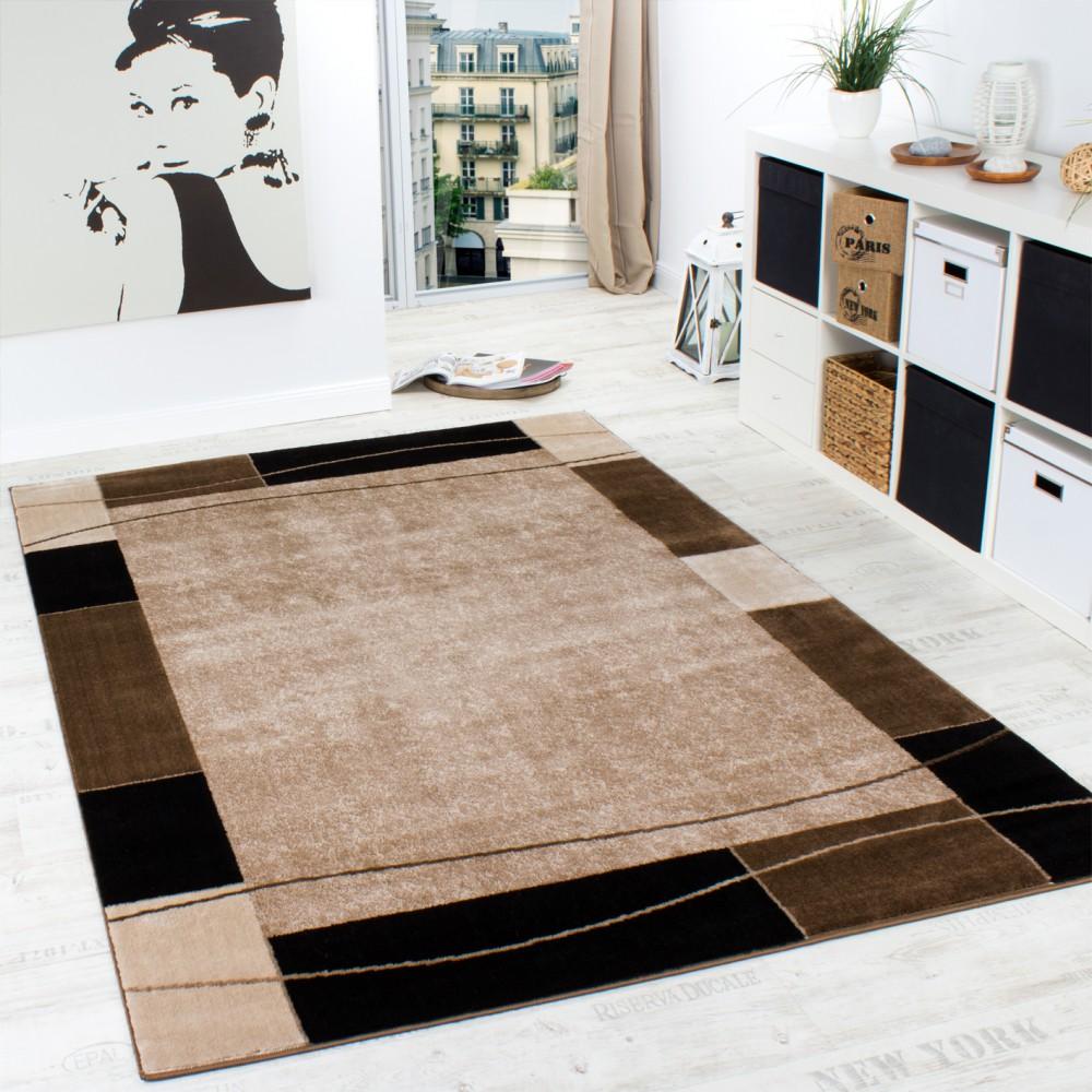 Designer Teppich Wohnzimmer Teppich Modern Bordüre in Braun Beige ...