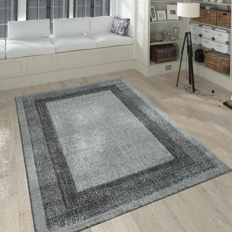 Fesselnd Kurzflor Teppich Wohnzimmer Modern Meliert Bordüre Farbverlauf In Grau  Silber 1 ...