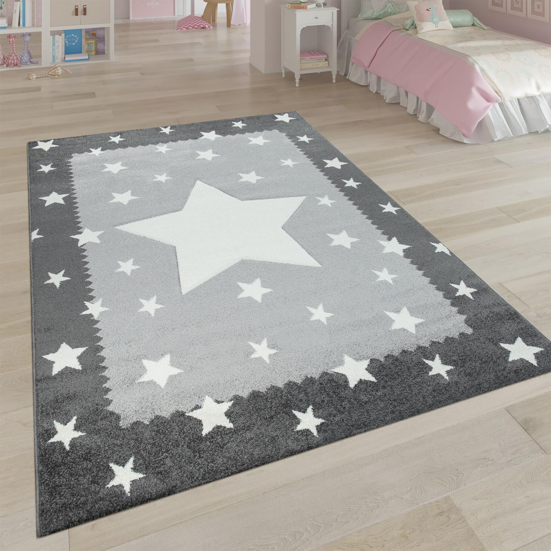 Kinderteppich Grau Weiss Kinderzimmer 3 D Bordure Sternen Design Weich Robust