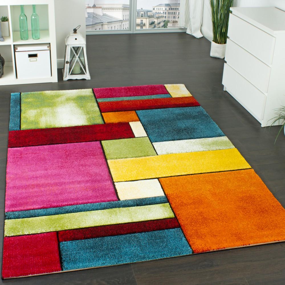 Gut Designer Teppich Kariert Trendig Bunt Meliert Eyecatcher Grün Blau Orange  Pink