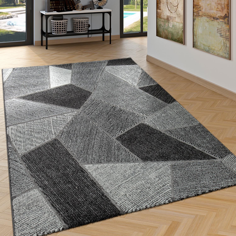 Edler Designer Teppich Wohnzimmer Hoch Tief Effekt Rauten Modern Grau 1 ...