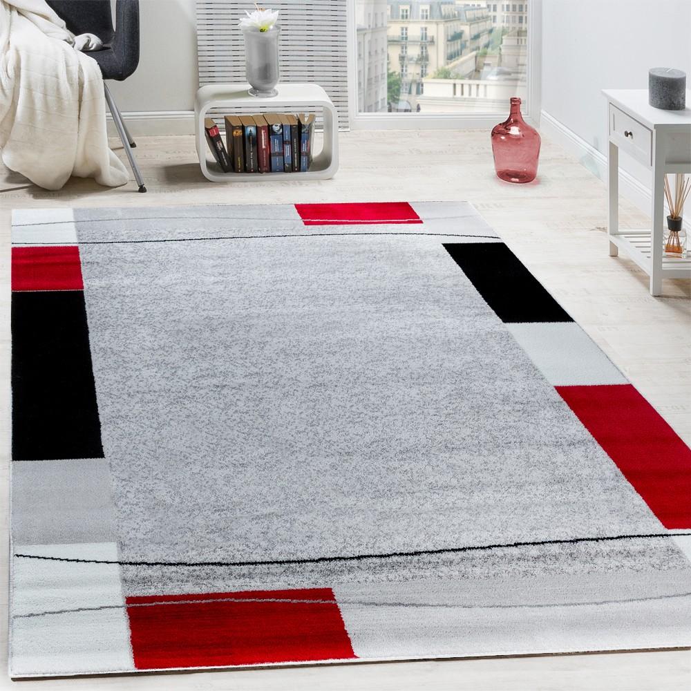 Designer Teppich Wohnzimmer Kurzflor Modern Elegant Bordure In Grau