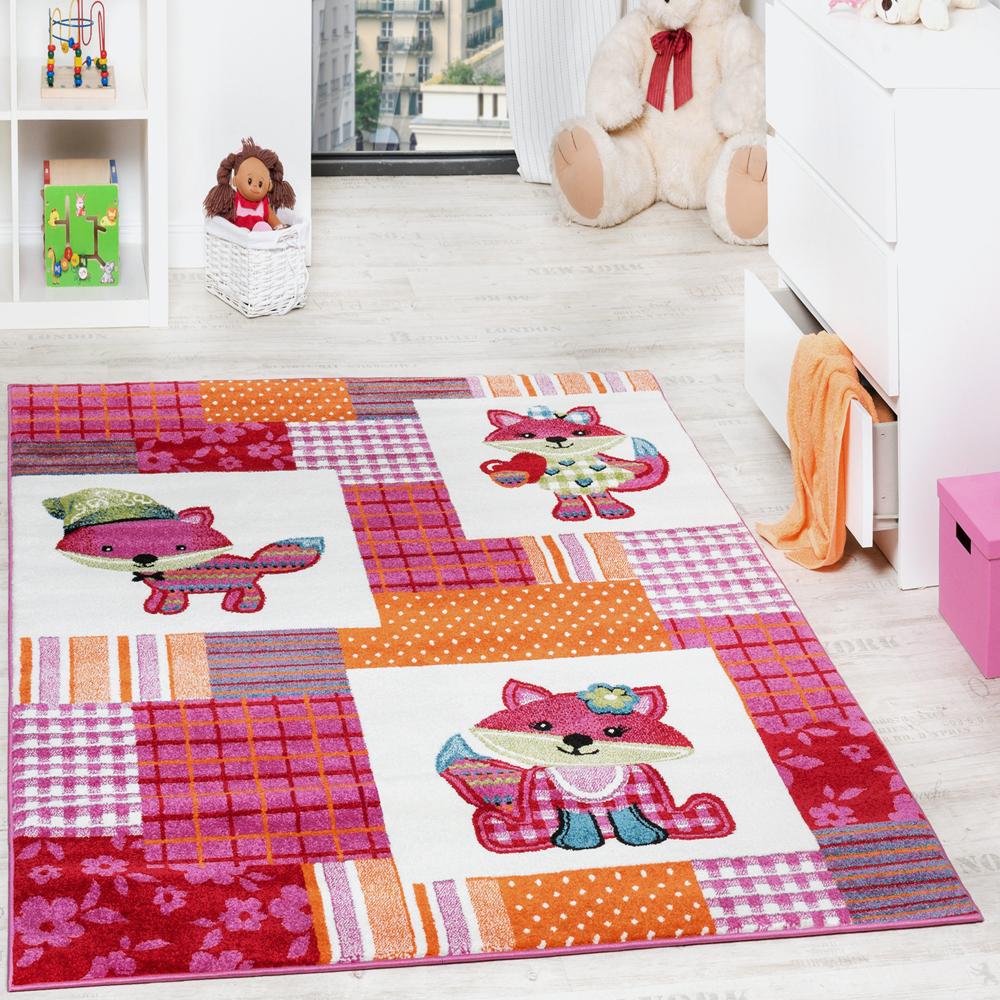 Teppich Kinderzimmer Niedliche Fuchse Kinderteppich Fuchs Mehrfarbig Pink Creme