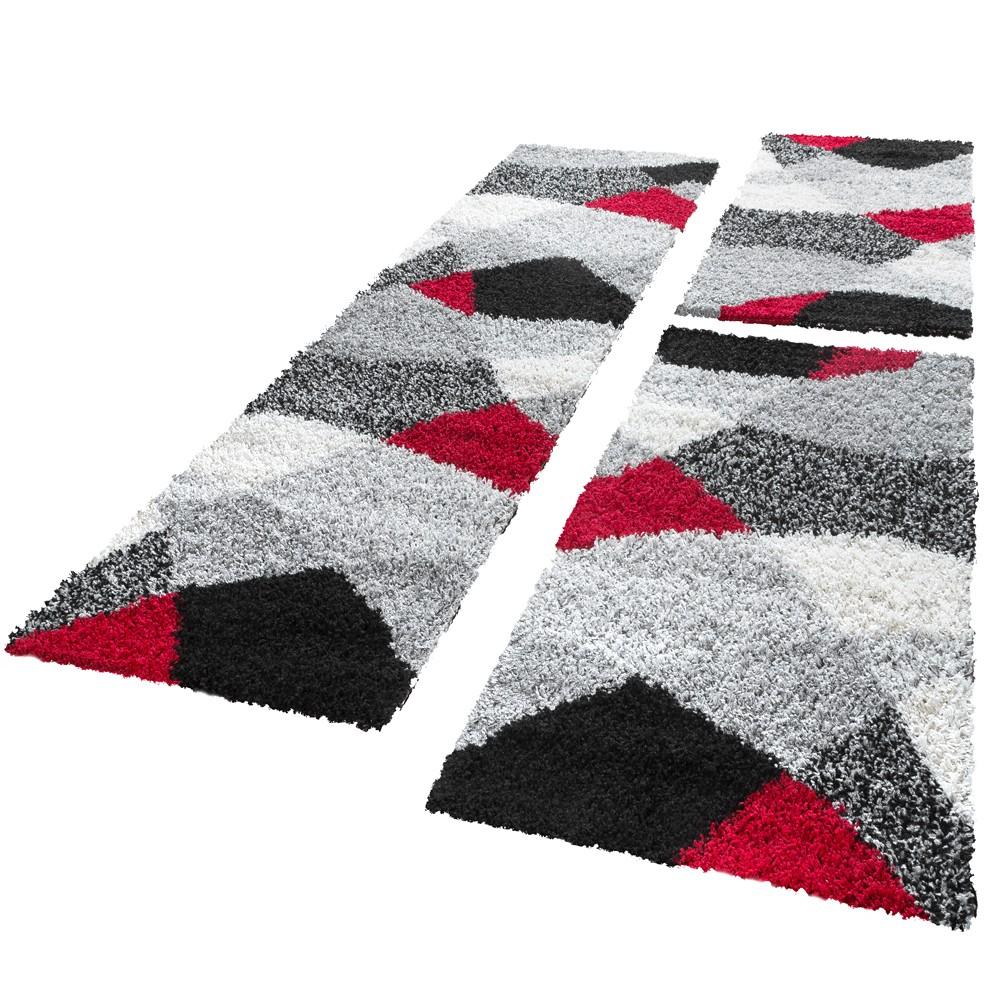 Bettumrandung Laufer Hochflor Shaggy Teppich Weich Rot Grau