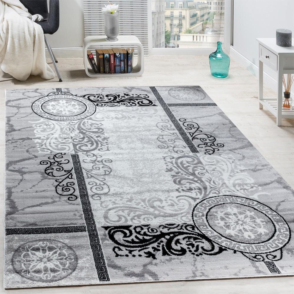 Designer Teppich Modern Meliert Floral Mit Versace Muster Kreise