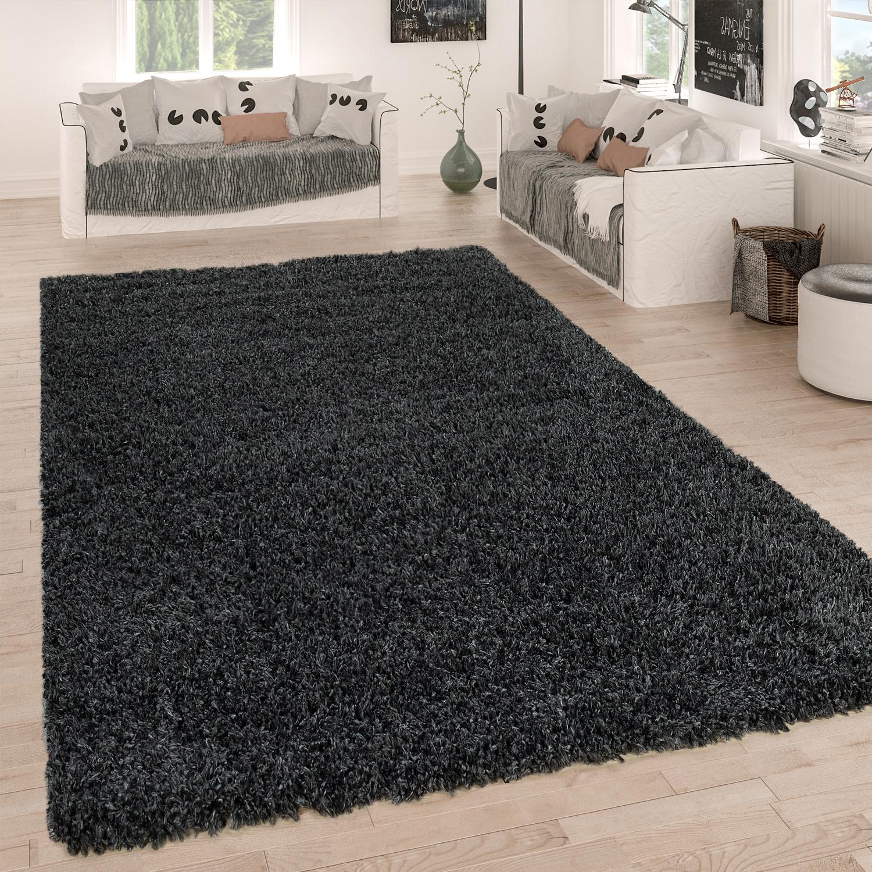 Hochflor Teppich Grau Anthrazit Wohnzimmer Shaggy Strapazierfahig Weich Robust