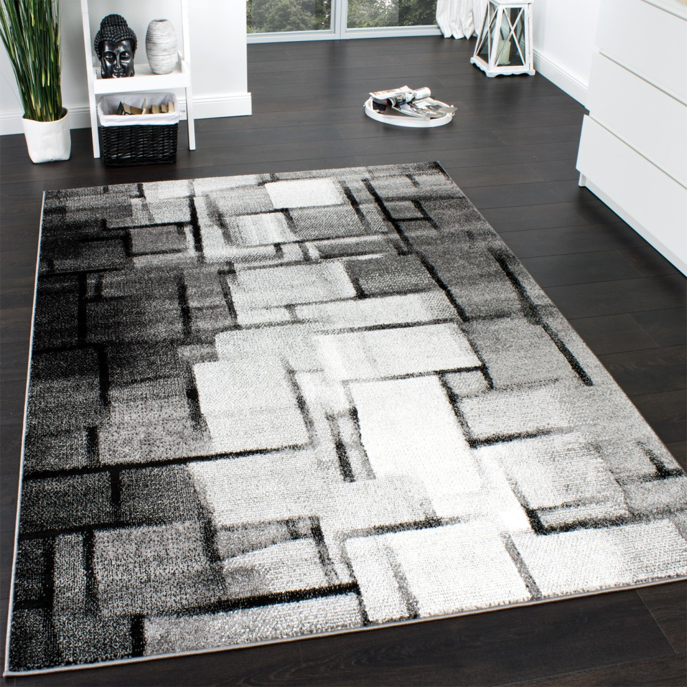designer teppich modern trendiger kurzflor teppich karo muster farbverlauf grau kaufen bei. Black Bedroom Furniture Sets. Home Design Ideas