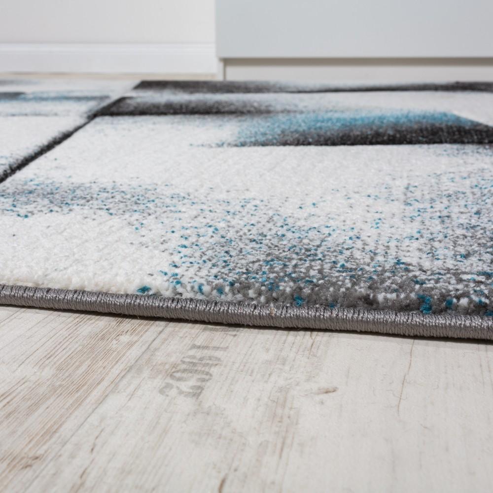 designer teppich wohnzimmer teppiche kurzflor meliert t rkis grau creme schwarz kaufen bei. Black Bedroom Furniture Sets. Home Design Ideas