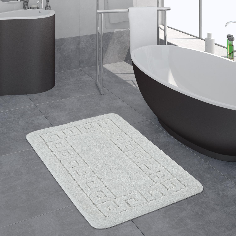 Attractive Moderner Badezimmer Teppich Bordüre Badvorleger Rutschfest Badematte In  Weiß 1 ...