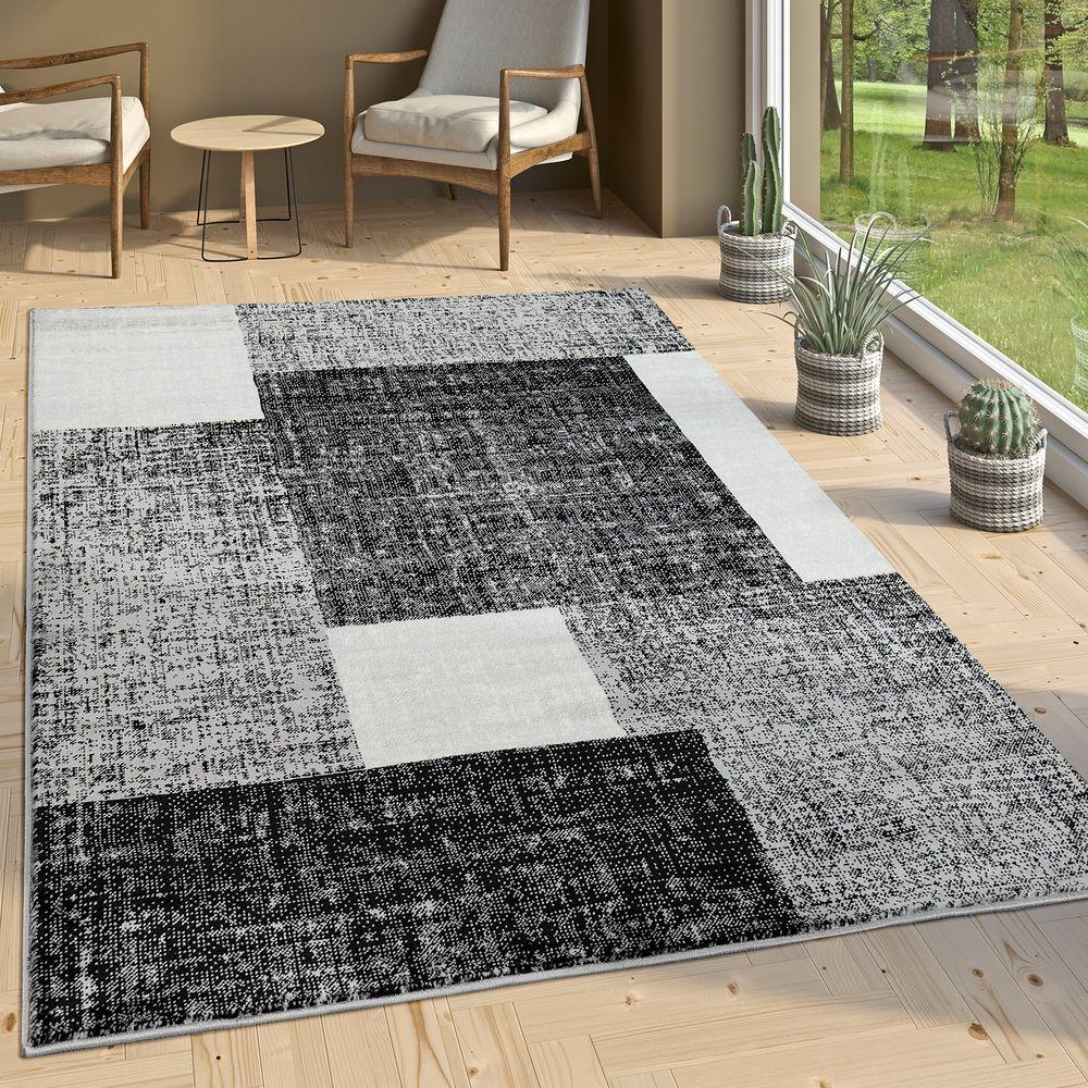 Designer Wohnzimmer Teppich Modern Kurzflor Karo Muster Schwarz Grau Weiß 1  ...