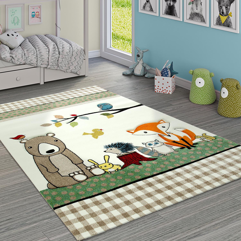 Eitelkeit Kinderteppich Dekoration Von Karo Muster Wald Tiere Bär Und Fuchs