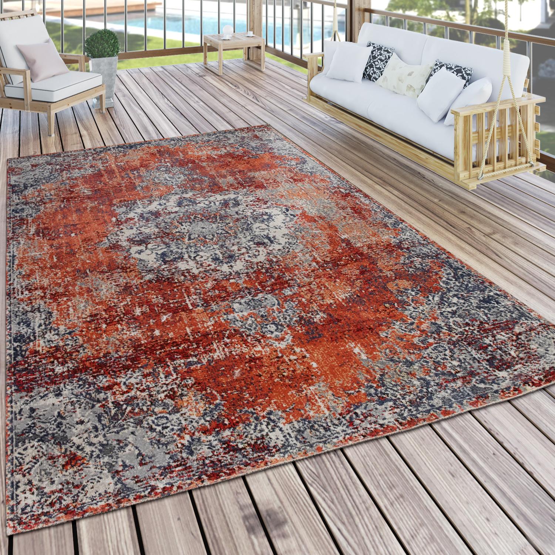 20+ In & Outdoor Teppich Küchenteppich Balkon Terrasse Vintage Orient Muster  Grau Rot Kollektion