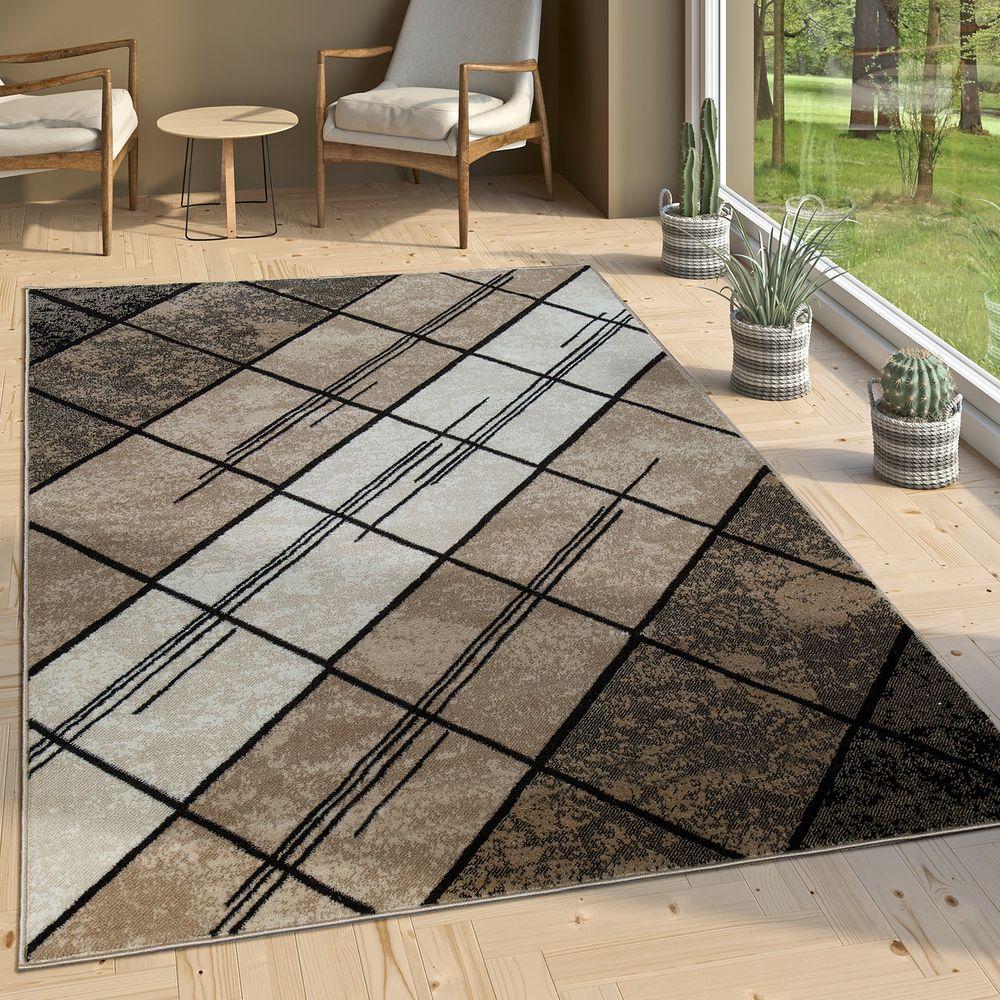 designer wohnzimmer teppich modern kurzflor geometrische muster braun beige creme 1 - Teppich Geometrisches Muster