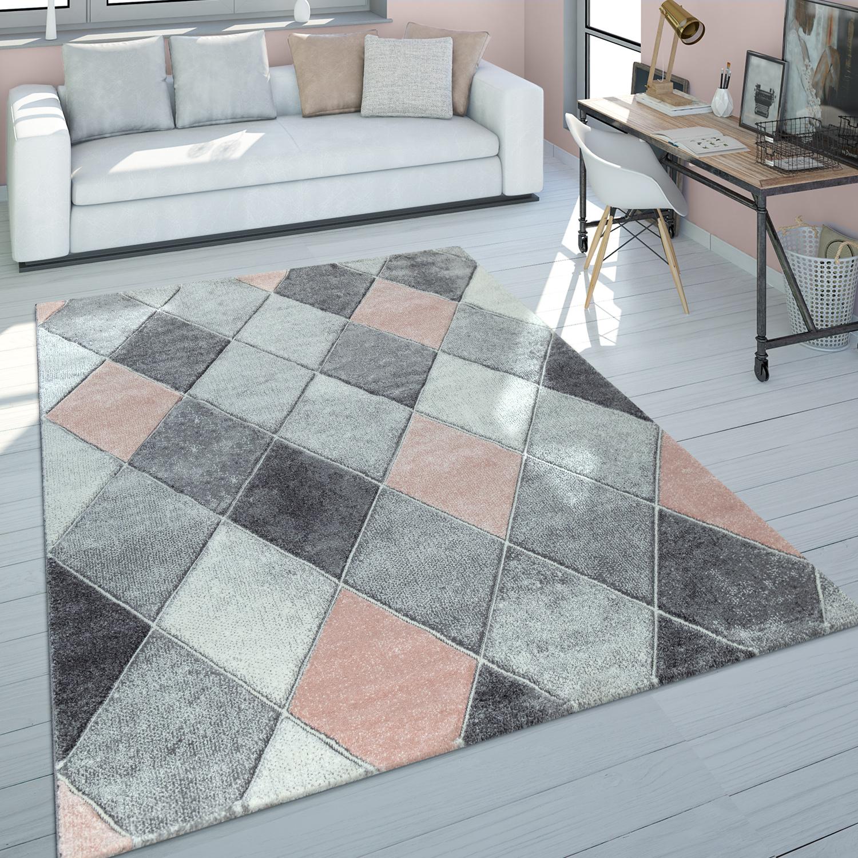 Kurzflor Teppich Wohnzimmer Rosa Grau Pastellfarben Rauten Muster 3-D Design