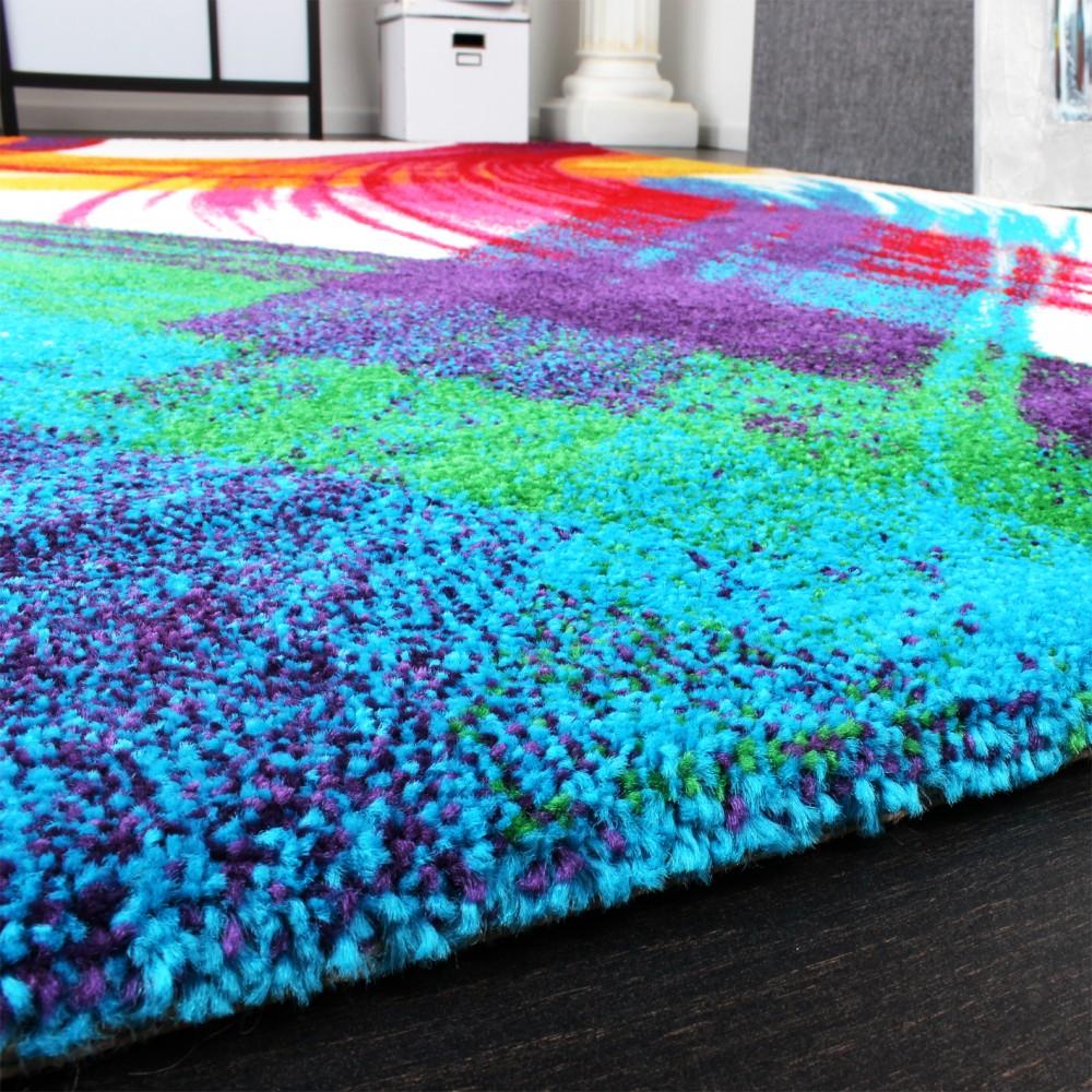 teppich modern bunt teppich splash brush leinwand optik. Black Bedroom Furniture Sets. Home Design Ideas